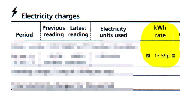 electricity bill showing rate of approx 14p per kWh